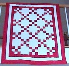 Red and White Quilted Irish Chain Bed Crib Lap Wall by QuiltSALAD, $150.00