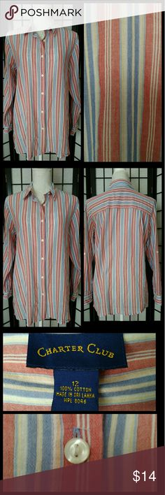 100% Cotton Button Down Striped Blouse Top Great condition! Light and airy, gauze-type material ~ Very cool! Enjoy! :)  Plz ask any Q's ~ I love happy buyers! :-) Charter Club Tops Button Down Shirts