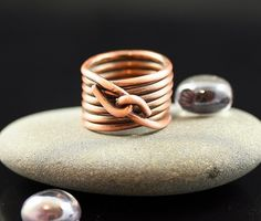 Wire Wrapped Statement Ring Large- Copper- Stacked ring, $35 | WhimOriginals - Jewelry on ArtFire This would be a good design for a bangle bracelet.