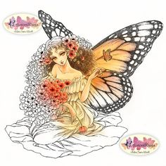 Digital Stamp - Instant Download - Romanza - Monarch Butterfly Fairy with Poppies - digistamp - Fantasy Line Art for Cards & Crafts
