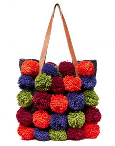 Shop Bag with pom poms Orange for BAGS at the official United Colors of Benetton online shop. Crafts To Make And Sell, Diy And Crafts, Crafts For Kids, Pom Pom Crafts, Yarn Crafts, Diy Crochet Basket, Fabric Pom Poms, Crafts For Seniors, Colors Of Benetton