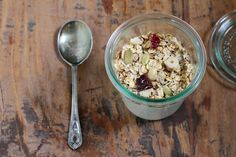 Homemade Muesli Recipe for breakfast in a jar.  This is a great recipe and there are many more at the site.