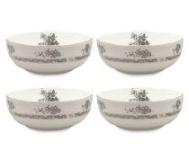 Gracie Bone China Dessert Bowl, Set of 4 Scallop Edge, Black Gracie, Set of 4 Dessert Bowls, Cereal Bowls, Scalloped Edge, Tupperware, Bone China, Bowl Set, Tableware, Glass, Dinnerware