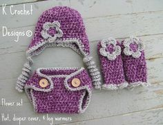 crochet baby hatleg warmersdiaper coverflower by KCrochetdesigns 05005e1e949
