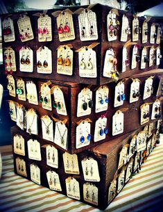 Wine Box Earring Display - I bet you could do a similar stand with the crates from Michael's