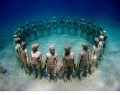 Under water sculpture in Grenada, in honor of our African ancestors thrown overboard