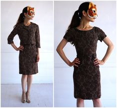 Vintage 50s/60s Two Piece Dress and Jacket Suit in a Brown and Gray Printed Floral Paisley Wool | XS by AnimalHeadVintage on Etsy