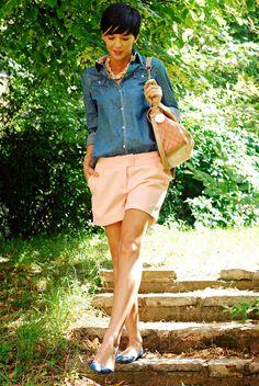 Denim Shirt Meets Pale Pink - June '12