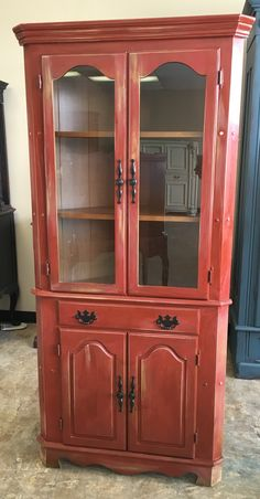 """Here is another awesome corner cabinet. Imagine how gorgeous this would look up against your neutral walls! What do you think? The dimensions are 34"""" L, 19"""" W, 71"""" H. Asking price $275. Interested? Call/Txt me 281-917-0332. https://www.pinterest.com/shabbychictexas/these-pins-are-for-sale/"""