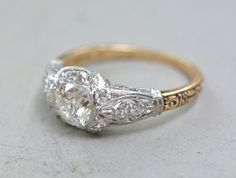 Antique .75 Carat (1+ ctw) Old Mine Cut Diamond Edwardian  Platinum and Gold Engagement Ring with Halo, Filigree and Engraving