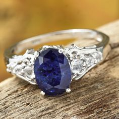 Masoala Sapphire and White Topaz Platinum Over Sterling Silver Ring