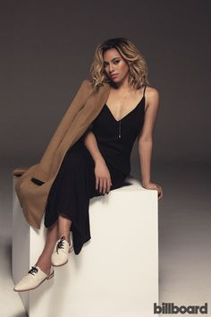 Dinah Jane Hansen wears a ThePerfext coat, Onia dress, Georg Jensen necklace and Freda Salvador shoes.