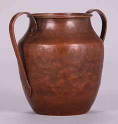 """Dirk van Erp hammered copper two-handled """"warty"""" vase with original red patina.  Signed with open-box, San Francisco mark.  10.5″h x 11.5″w x 8.5″d"""