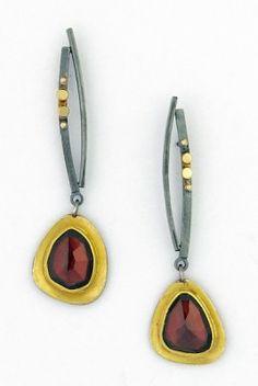 SYDNEY LYNCH JEWELRY :: Rose-cut garnet earrings; 18k & 22k gold, oxidized sterling silver. $715