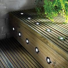 These LED recessed deck lighting kits are mains powered which has the benefit of you being able to control your outdoor lighting by the touch of a switch. They are great for decking areas. Plinth Lighting, Porch Lighting, Deck Design, Building A Deck, Outdoor Lighting, Deck Lighting, Diy Lighting, Deck Construction, Timber Deck