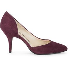Sole Society Paola Dorsay Almond Toe Pump ($35) ❤ liked on Polyvore featuring shoes, pumps, dark eggplant, round cap, suede shoes, round toe suede pumps, suede pumps and round toe shoes