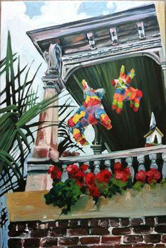 pinata donkey, oil on canvas, 24x36. $300.00, via Etsy.