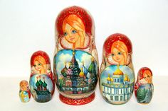 Russian Matryoshka 5pcs Moscow Super Cathedrals by SunGrail