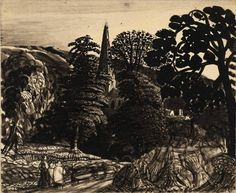 Samuel Palmer, A church among trees, 1830