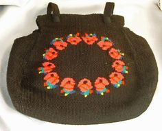 Vintage Black Handbag Embroidered Red Roses Woven by PastSplendors
