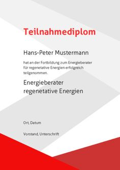 Beispiel: Muster-Teilnahmediplom-Rot