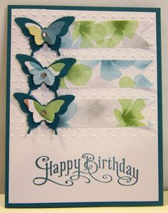 """Perfectly Penned Stamp Set """"Happy Birthday"""" Island Indigo Whisper White Watercolor Wonder DSP Elegant Butterfly Punch Bitty Butterfly Punch Polka Dot Embossing"""
