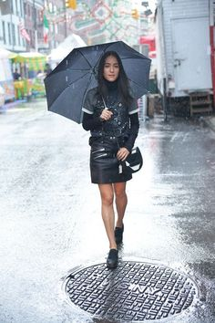 The perfect rainy day outfit for when it's still warm outside