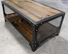 This is a handmade, industrial style coffee table with a solid wood planks and stylish decorative mesh on the sides. Features Heavy steel construction Handscraped solid wood planks (W) x 24 (D) x (H) Made in the USA© Copyright Modern Industrial Furniture Modern Industrial Furniture, Industrial Style Coffee Table, Industrial Interior Design, Industrial Interiors, Metal Furniture, Vintage Furniture, Furniture Ideas, Furniture Design, Barbie Furniture