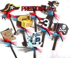 Pirate Party Themed Party Centerpiece Sticks Set of 8 Personalized With Name and Age Matches Pirate and Mermaid Party