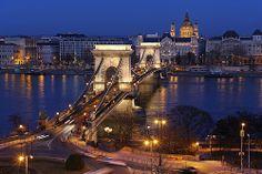 Chain Bridge traffic - viewed from the Buda castle - Budapest, Hungary