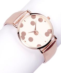 Take a look at this Rose Gold Large Dot Leather-Strap Watch on zulily today!