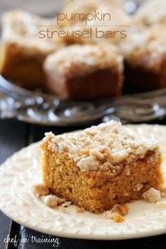 Pumpkin Streusel Bars... This cake is so moist and delicious! The crumb topping is the perfect finishing touch to each and every bite!