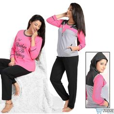 Women's 3 Pcs Pyjama Set. Lounge Wear Set. Zip Front Hodded Jacket with Pockets, Sleeveless T-Shirt and Pyjama. Designer & Luxury Nightwear. Available In 2 Color. Washing Instruction : First wash separate with cold water. | eBay!