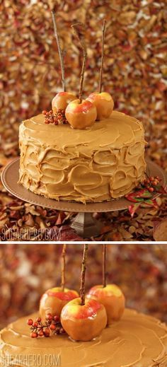Caramel Apple Cake with Salted Caramel Butter-cream ~ the cake is light and fluffy, made with oil instead of butter, apple sauce, caramel sauce and a good handful of chopped apples. Delicious and a beautiful presentation.