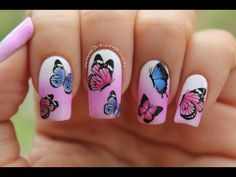 Decoración de uñas con mariposas - Butterfly nail art - YouTube