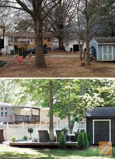 This before and after image give a hint of the amazing job Kristin Jackson did in her complete backyard makeover. See more of her amazing outdoor space on The Home Depot Blog.