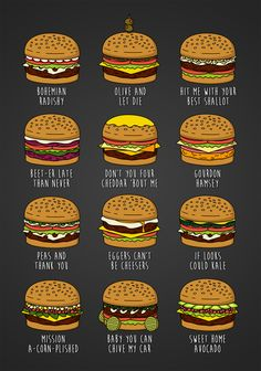 """Featuring some of my favourite pun-related burgers from """"Bob's Burgers"""".Redbubble 