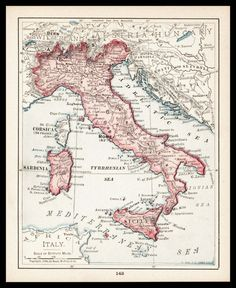 Small Italy Map of Italy Italian Map Wall by ParagonVintagePrints