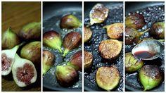 Corte os figos ao meio. Aqueça a frigideira e grelhe o lado de dentro, quando dourar, vire e coloque o vinho e o açúcar. Balance a frigideira para ao vinho envolver os figos e o açúcar. Deixe reduzir, 5 minutos bastam. Retire do fogo. Sirva com queijo meia cura ou ricota... #doce #figo #fruta