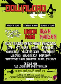 Download Festival 2007 Poster Heavy Metal Rock, Gallows, Thirty Seconds, Metal Pins, Concert Posters, Concerts, Hard Rock, Rock And Roll, Festivals