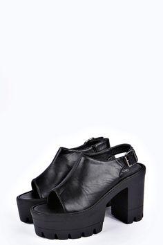 Carly Peeptoe Slingback Cleated Platform Heel at boohoo.com
