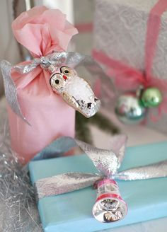 Ornaments as part of gift wrapping