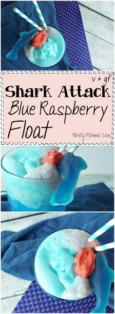 Shark Attack Float - AKA Blue Raspberry Float (Vegan and Gluten-Free) OMG! This is the funniest Shark Week idea.and so simple, too. I'd love a Blue Raspberry Float.but a Shark Attack Float--L-O-V-E! Shark Week Drinks, Shark Snacks, Shark Cupcakes, Fish Candy, Cute Snacks, Kid Snacks, Blue Food Coloring, Shark Party, Kids Meals