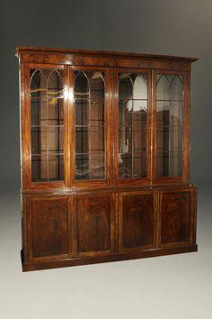 antique english hepplewhite style breakfront - Antique Looking Bookshelves