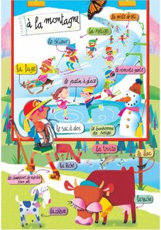 En montagne on FLE enfants curated by Pilar_Mun French Teaching Resources, Teaching French, French Phrases, French Words, Learn To Speak French, Study French, French Worksheets, French For Beginners, Material Didático