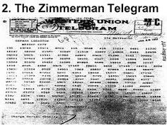 Zimmerman Note  was a diplomatic proposal from the Germany for Mexico to join an alliance with Germany in the event of the United States entering World War I against Germany.