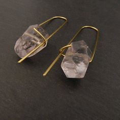 Amethyst earrings, Amethyst gold earrings, Amethyst brass earrings, Minimalist earrings, Boho earrings, Boho jewellery, Quartz earrings