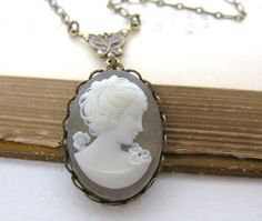 Vintage Cameo Necklace Pendant Ivory by BumbershootDesigns on Etsy,I WANT THIS!