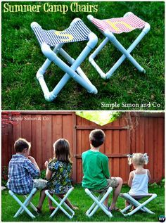DIY Foldable PVC Pipe Camp Chair Seat-20 PVC Pipe DIY Projects For Kids