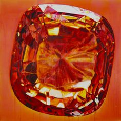 Paula MacArthur painting of a gem, Tell me love is real, 140x140cm oil on canvas. Gem, jewel, precious. Find a listing for her current exhibition in Threadneedle Street here